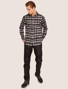 ARMANI EXCHANGE REGULAR-FIT FREEFORM CHECK SATIN-WEAVE SHIRT Printed Shirt [*** pickupInStoreShippingNotGuaranteed_info ***] d