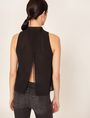 ARMANI EXCHANGE LACE YOKE SPLIT-BACK TANK Solid Top Woman e