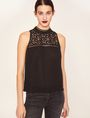 ARMANI EXCHANGE LACE YOKE SPLIT-BACK TANK Solid Top Woman f