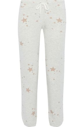 MONROW Cropped printed French terry track pants