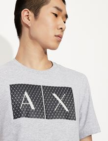 ARMANI EXCHANGE TESSELLATED LOGO CREWNECK TEE Logo T-shirt [*** pickupInStoreShippingNotGuaranteed_info ***] b
