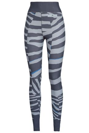 ADIDAS by STELLA McCARTNEY Zebra-print stretch leggings