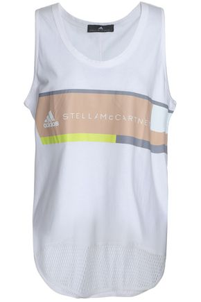 ADIDAS by STELLA McCARTNEY Mesh-paneled cotton-jersey tank