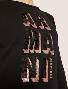 ARMANI EXCHANGE LONG-SLEEVE SEQUIN BLOCK CREWNECK TEE Logo T-shirt [*** pickupInStoreShipping_info ***] b