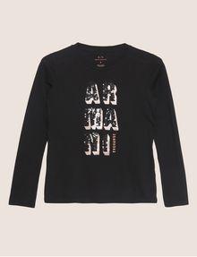 ARMANI EXCHANGE LONG-SLEEVE SEQUIN BLOCK CREWNECK TEE Logo T-shirt [*** pickupInStoreShipping_info ***] r