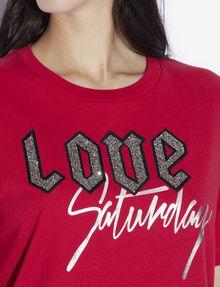 ARMANI EXCHANGE RHINESTONE LOVE SATURDAY CREW Graphic T-shirt [*** pickupInStoreShipping_info ***] b