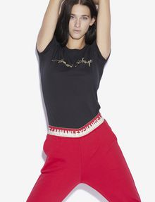 ARMANI EXCHANGE METALLIC EMBROIDERED SCRIPT CREWNECK TEE Logo T-shirt [*** pickupInStoreShipping_info ***] a