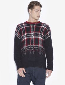 ARMANI EXCHANGE PLAID DEGRADE CREWNECK SWEATER Pullover [*** pickupInStoreShippingNotGuaranteed_info ***] f