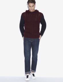 ARMANI EXCHANGE CABLE-KNIT WOOL-BLEND SWEATER HOODIE Pullover [*** pickupInStoreShippingNotGuaranteed_info ***] d