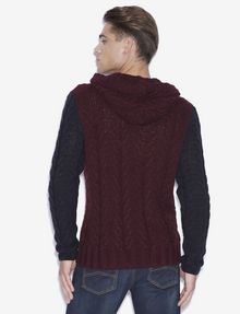 ARMANI EXCHANGE CABLE-KNIT WOOL-BLEND SWEATER HOODIE Pullover [*** pickupInStoreShippingNotGuaranteed_info ***] e