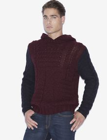 ARMANI EXCHANGE CABLE-KNIT WOOL-BLEND SWEATER HOODIE Pullover [*** pickupInStoreShippingNotGuaranteed_info ***] f