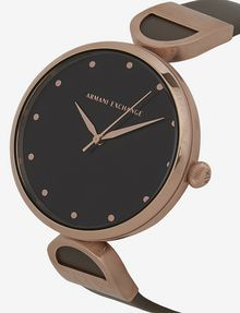 ARMANI EXCHANGE MINIMALIST QUILTED-FACE ROSE GOLD-TONED WATCH Fashion Watch [*** pickupInStoreShipping_info ***] a
