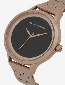 ARMANI EXCHANGE MATTE BLACK AND ROSE GOLD-TONED BRACELET WATCH Fashion Watch [*** pickupInStoreShipping_info ***] a