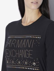 ARMANI EXCHANGE STUDDED SNOWFLAKE LONG-SLEEVED TEE Logo T-shirt [*** pickupInStoreShipping_info ***] b