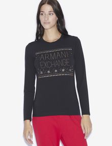 ARMANI EXCHANGE STUDDED SNOWFLAKE LONG-SLEEVED TEE Logo T-shirt [*** pickupInStoreShipping_info ***] f