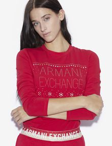 ARMANI EXCHANGE STUDDED SNOWFLAKE LONG-SLEEVED TEE Logo T-shirt [*** pickupInStoreShipping_info ***] a