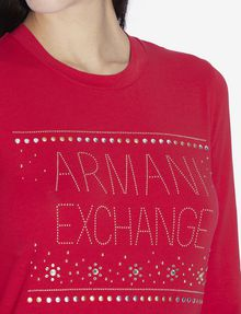 ARMANI EXCHANGE STUDDED SNOWFLAKE LONG-SLEEVED TEE Logo T-shirt [*** pickupInStoreShipping_info ***] b