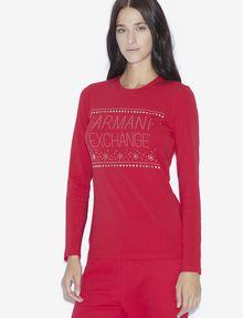 ARMANI EXCHANGE STUDDED SNOWFLAKE LONG-SLEEVED TEE Logo T-shirt [*** pickupInStoreShipping_info ***] f