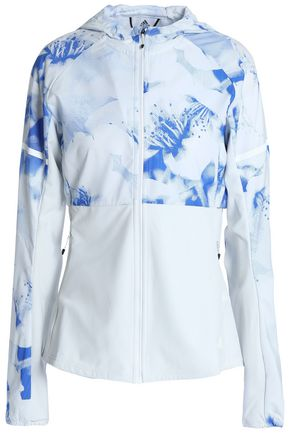 ADIDAS Paneled printed tech-jersey hooded jacket