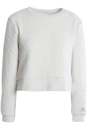 ADIDAS Cropped quilted cotton-blend sweatshirt
