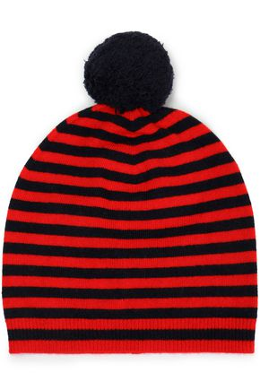 CHINTI & PARKER Pompom-embellished striped wool and cashmere-blend beanie