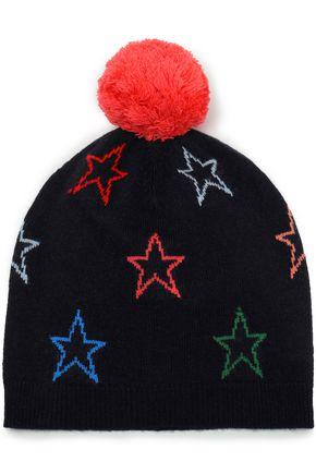 CHINTI & PARKER Pompom-embellished intarsia wool and cashmere-blend beanie
