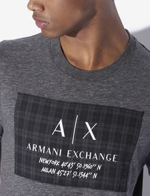 ARMANI EXCHANGE REGULAR FIT RUNDHALSSHIRT MIT PLAID-MOTIV UND KOORDINATEN Logo-T-Shirt [*** pickupInStoreShippingNotGuaranteed_info ***] b