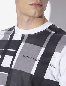 ARMANI EXCHANGE REGULAR-FIT PLAID-FRONT SPACE DYE CREW Graphic T-shirt [*** pickupInStoreShippingNotGuaranteed_info ***] b