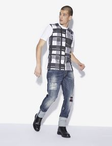 ARMANI EXCHANGE REGULAR-FIT PLAID-FRONT SPACE DYE CREW Graphic T-shirt [*** pickupInStoreShippingNotGuaranteed_info ***] d