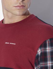 ARMANI EXCHANGE PLAID SLEEVE COLORBLOCKED SWEATSHIRT Sweatshirt [*** pickupInStoreShippingNotGuaranteed_info ***] b