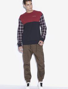 ARMANI EXCHANGE PLAID SLEEVE COLORBLOCKED SWEATSHIRT Sweatshirt [*** pickupInStoreShippingNotGuaranteed_info ***] d