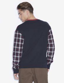 ARMANI EXCHANGE PLAID SLEEVE COLORBLOCKED SWEATSHIRT Sweatshirt [*** pickupInStoreShippingNotGuaranteed_info ***] e