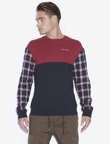 ARMANI EXCHANGE PLAID SLEEVE COLORBLOCKED SWEATSHIRT Sweatshirt [*** pickupInStoreShippingNotGuaranteed_info ***] f
