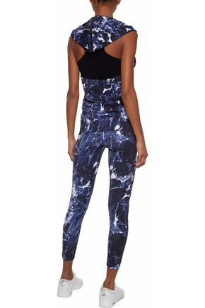 NORMA KAMALI Cropped printed stretch leggings