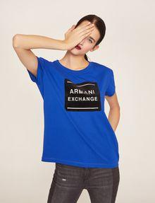 ARMANI EXCHANGE METALLIC BOXED LOGO CREW Logo T-shirt [*** pickupInStoreShipping_info ***] a