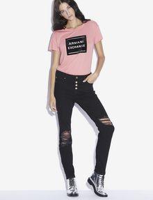 ARMANI EXCHANGE METALLIC BOXED LOGO CREW Logo T-shirt [*** pickupInStoreShipping_info ***] d