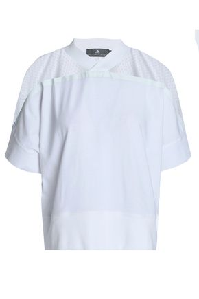 ADIDAS by STELLA McCARTNEY Mesh-paneled cotton-jersey T-shirt