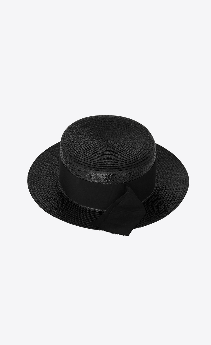 ea2cc5cb081 Saint Laurent Small Boater Hat In Varnished Straw