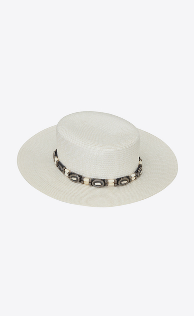 Large Western-style boater hat in varnished straw