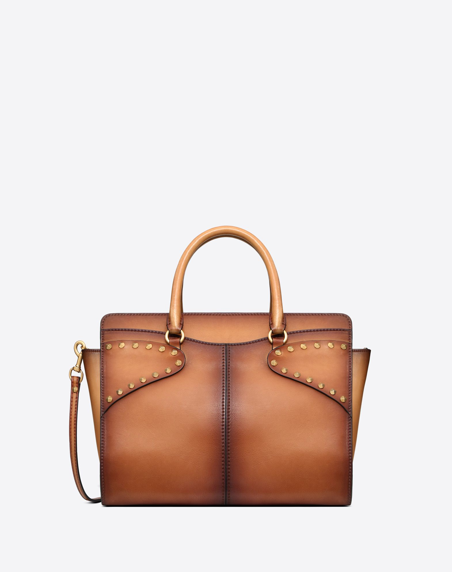 Medium Burnished Calf Leather Twinkle Studs top-handle bag