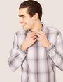 ARMANI EXCHANGE REGULAR-FIT OMBRE PLAID SHIRT Checked Shirt [*** pickupInStoreShippingNotGuaranteed_info ***] a