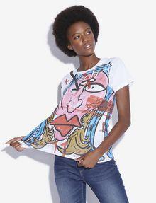 ARMANI EXCHANGE WOMEN'S STREET ART BY ANDREA MARCACCINI CREWNECK TEE Graphic T-shirt Woman a