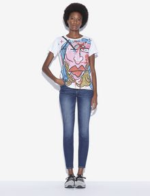 ARMANI EXCHANGE WOMEN'S STREET ART BY ANDREA MARCACCINI CREWNECK TEE Graphic T-shirt Woman d