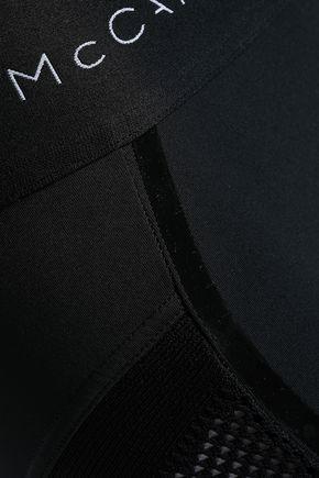 ADIDAS by STELLA McCARTNEY PVC-trimmed mesh-paneled stretch-leggings