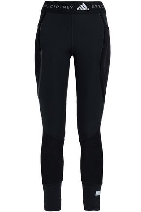 ADIDAS by STELLA McCARTNEY PVC-trimmed mesh-paneled stretch-leggings