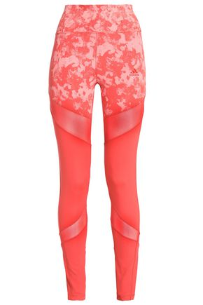 ADIDAS Mesh-trimmed printed stretch leggings