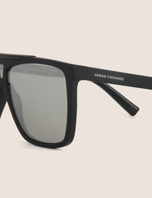 ARMANI EXCHANGE SILVER MIRRORED MODIFIED AVIATOR Sunglass Man d