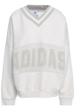 ADIDAS ORIGINALS Intarsia-paneled French cotton-blend terry sweatshirt