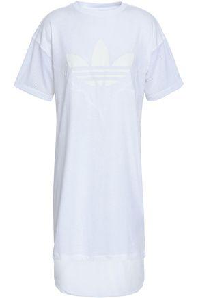 ADIDAS ORIGINALS Mesh-paneled printed cotton-jersey dress