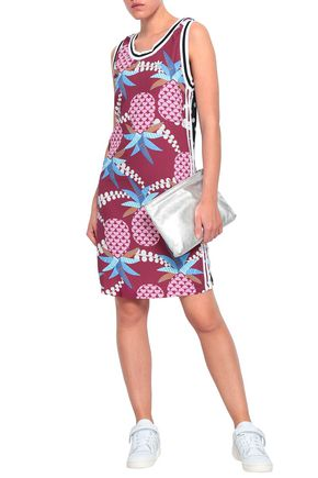ADIDAS ORIGINALS Paneled printed crepe mini dress